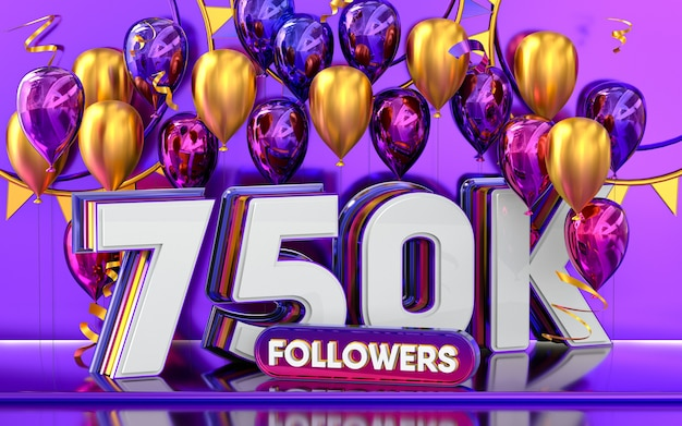 Celebración de 750k seguidores gracias banner de redes sociales con representación 3d de globos morados y dorados