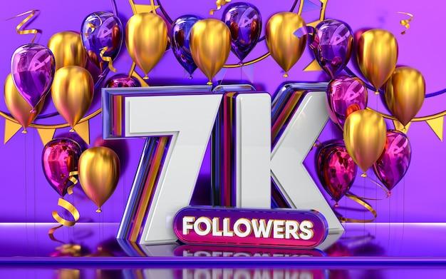 Celebración de 7k seguidores gracias banner de redes sociales con representación 3d de globos morados y dorados