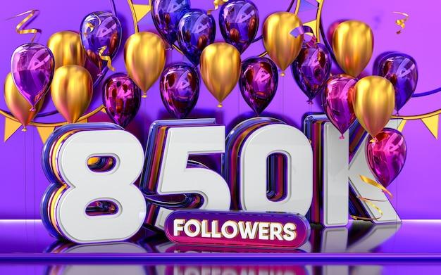 Celebración de 850k seguidores gracias banner de redes sociales con representación 3d de globos morados y dorados
