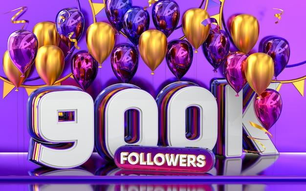 Celebración de 900k seguidores gracias banner de redes sociales con representación 3d de globos morados y dorados