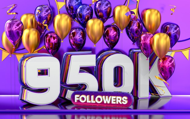 Celebración de 950k seguidores gracias banner de redes sociales con representación 3d de globos morados y dorados