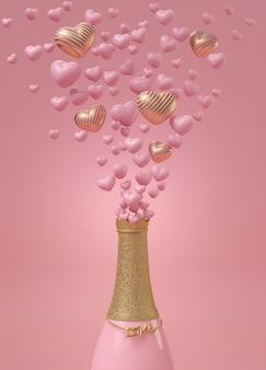 Celebración de amor con botella de champagne