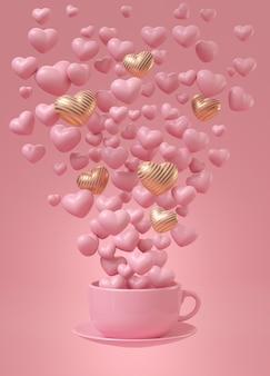 Celebración de amor con taza de café