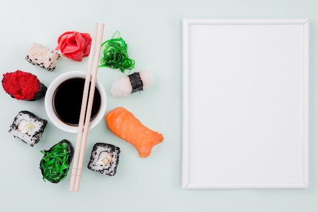 Celebración del día internacional del sushi con marco