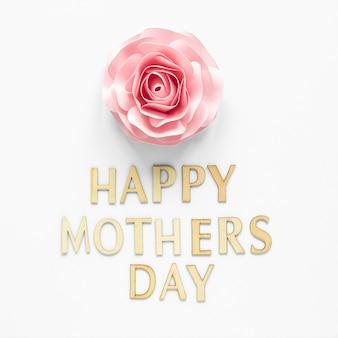 Celebración del día de la madre con vista superior de flores