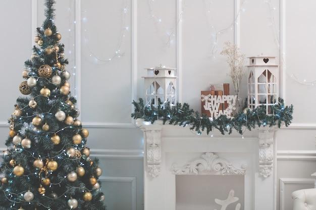 Celebración, navidad, año nuevo, horario de invierno, vacaciones, decoración, diseño, decoración. arte, arbol, fi