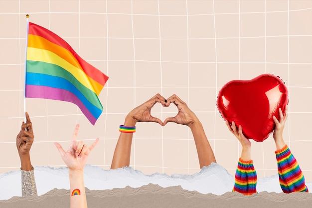 Celebración del orgullo lgbtq + con la mano y la multitud animando a los medios remezclados