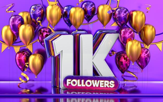 Celebración de seguidores de 1k gracias banner de redes sociales con representación 3d de globos morados y dorados