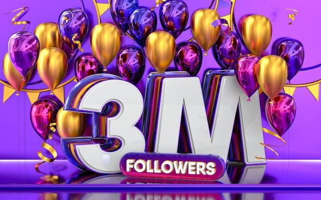 Celebración de seguidores de 3 millones gracias banner de redes sociales con representación 3d de globos morados y dorados