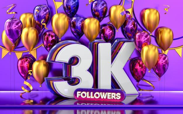 Celebración de seguidores de 3k gracias banner de redes sociales con representación 3d de globos morados y dorados