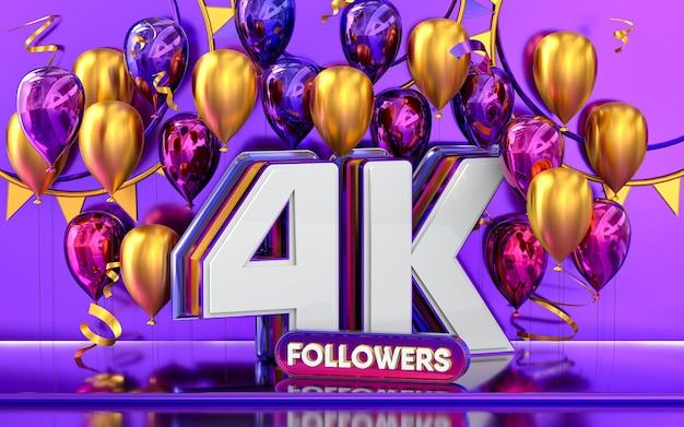 Celebración de seguidores de 4 k gracias banner de redes sociales con representación 3d de globos morados y dorados