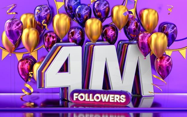 Celebración de seguidores de 4 millones gracias banner de redes sociales con representación 3d de globos morados y dorados