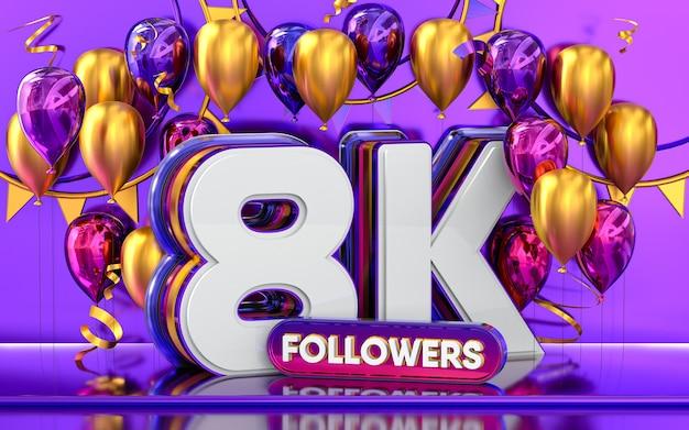 Celebración de seguidores de 8k gracias banner de redes sociales con representación 3d de globos morados y dorados