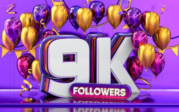 Celebración de seguidores de 9k gracias banner de redes sociales con representación 3d de globos morados y dorados