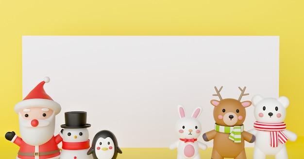 Celebraciones de navidad con papá noel y amigos para fondo de navidad y banner. .