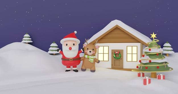 Celebraciones de navidad con renos y papá noel para tarjeta de navidad, fondo de navidad y banner. .