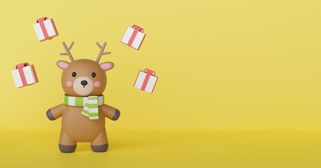 Celebraciones navideñas con renos. fondo de navidad y banner. .