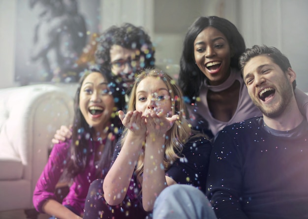 Celebrando con amigos