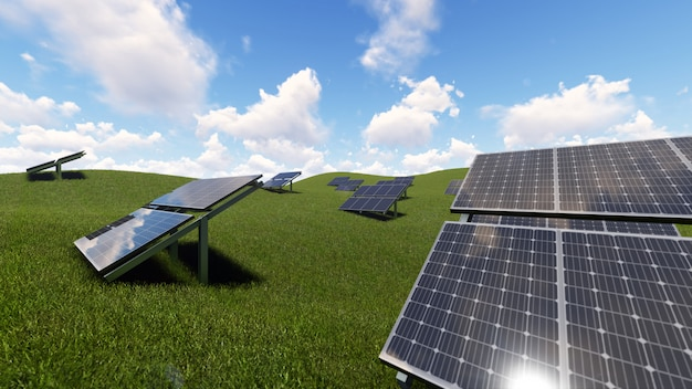Célula solar sobre hierba verde