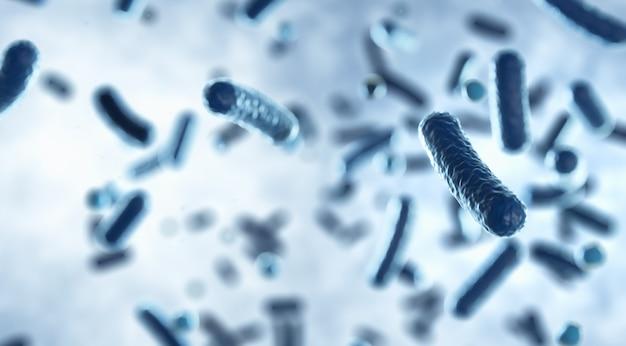 Células de microorganismos que flotan dentro del cuerpo humano bajo el microscopio, representación 3d fondo científico biológico de organismos bacterianos, concepto de enfermedad de salmonela ilustración 3d