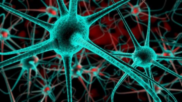 Células nerviosas activas, representación 3d. concepto de células neuronales en el espacio abstracto rojo oscuro.