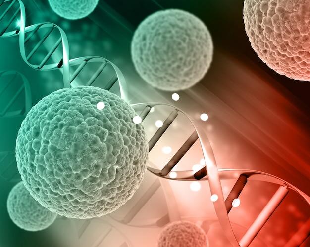 Células de virus médicos 3d en hebras de adn