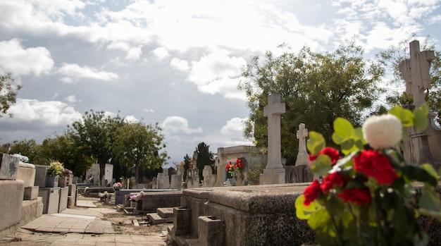 Cementerio cristiano y flores