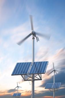 Central eléctrica con paneles fotovoltaicos y turbina eólica.