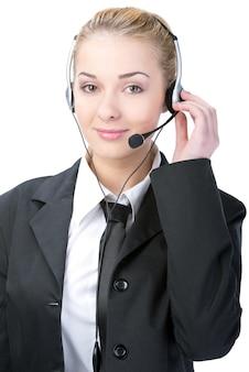 Centro de atención telefónica de trabajadora de servicio al cliente.