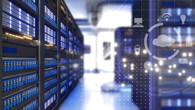 Centro de datos con varias filas de bastidores de servidores completamente operativos sistema de nube sistema de seguridad