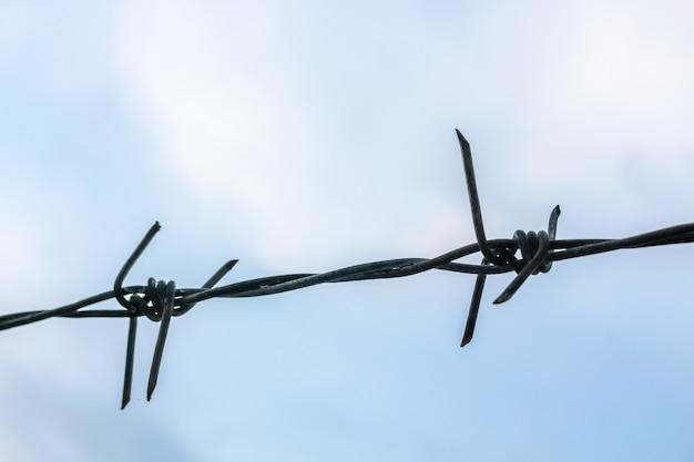 Cerca de alambre de púas en el cielo