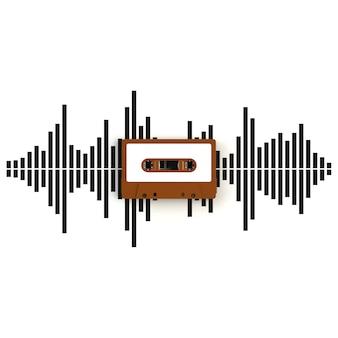 Cerca de cassette de cinta de audio vintage con ondas de sonido