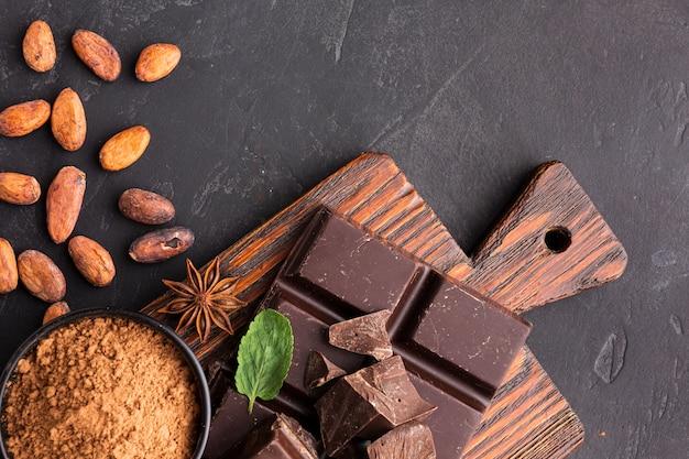 Cerca de chocolate azucarado