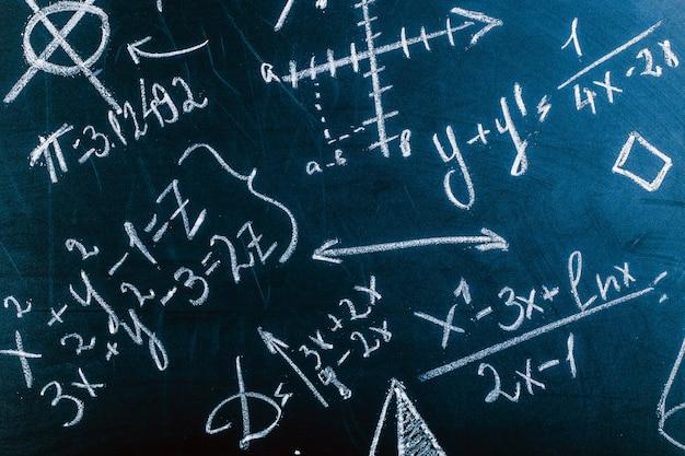 Cerca de fórmulas matemáticas en una pizarra, imagen de fondo