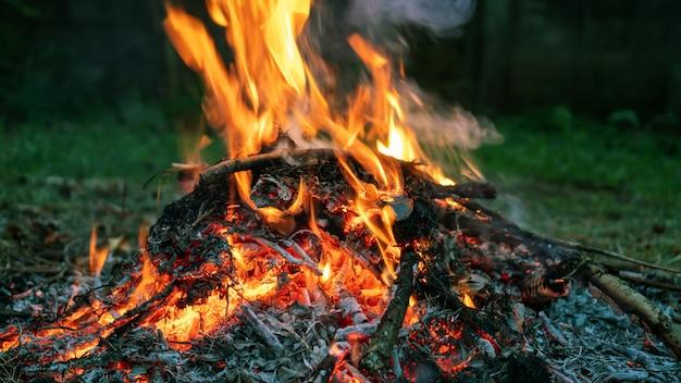 Cerca de la hoguera caliente en el bosque