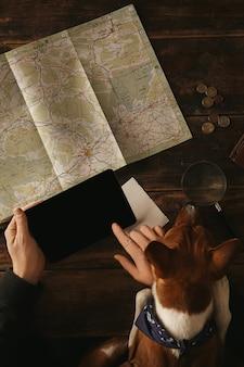 Cerca de las manos del hombre sosteniendo la tableta y deslizándose con el dedo, planeando una ruta de aventura en una mesa de madera envejecida con un mapa de carreteras mientras el curioso perro basenji lo mira con las patas en la mesa