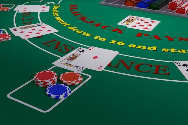 Cerca de una mesa de blackjack con cartas y fichas. ilustración 3d.
