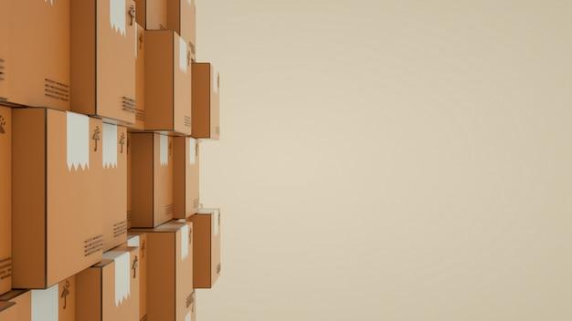 Cerca de la pared de cajas marrones sobre fondo naranja claro
