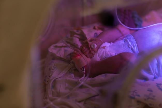 Cerca de las piernas del bebé recién nacido en incubadora