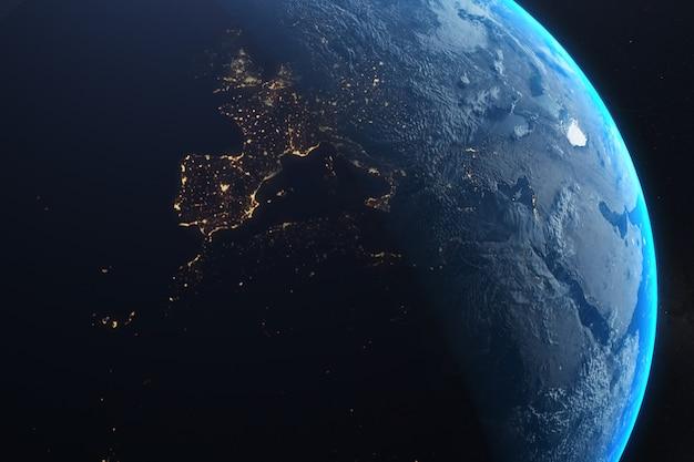 De cerca el planeta earthurface, ciudades brillando en la noche.