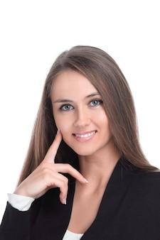 De cerca. retrato de una joven mujer de negocios aislado un fondo blanco.