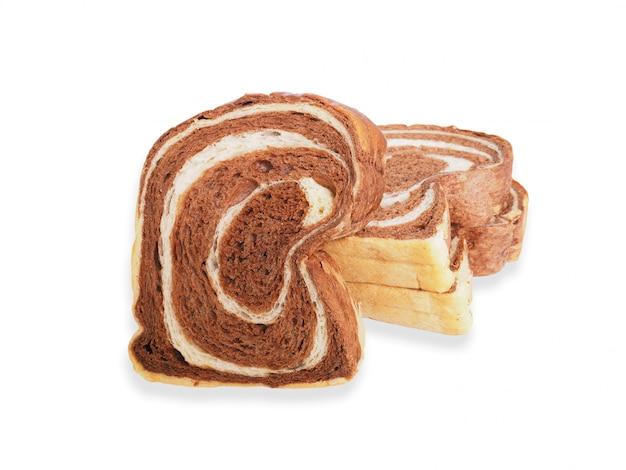 De cerca en rodajas de pan blanco y chocolate.