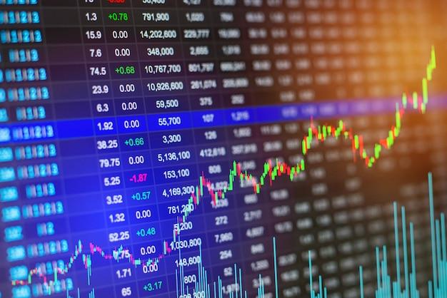 De cerca stock o mercado de divisas e intercambio de datos en la pantalla led.