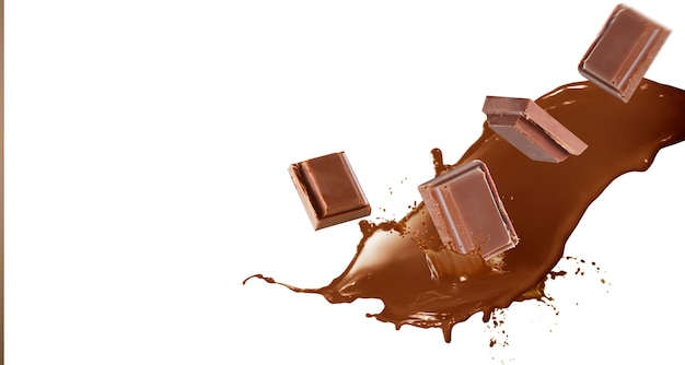 Cerca de trozos de chocolate cayendo sobre fondo blanco.