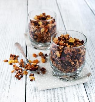 Cereal de granola con nueces