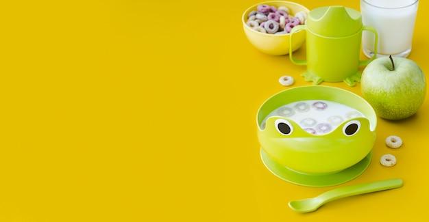 Cereales para bebés con leche y espacio de copia