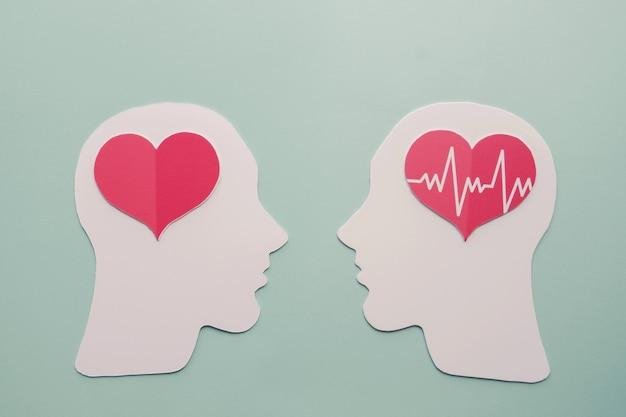 Cerebro y corazón de papel, día mundial del corazón