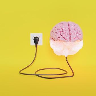 Cerebro enchufado a la mitad de la energía cargando con fondo amarillo. representación 3d