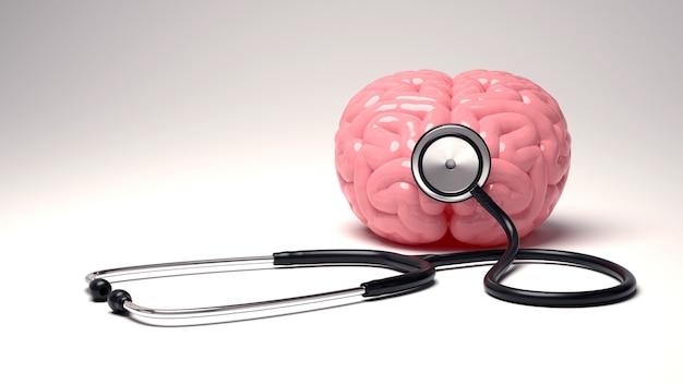 Cerebro humano y estetoscopio