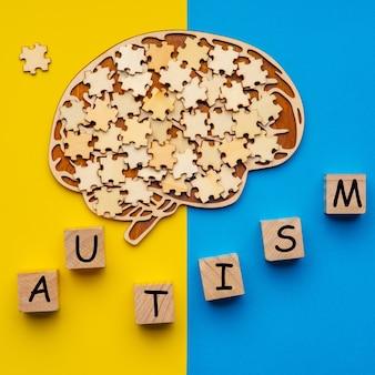 Cerebro humano con piezas de rompecabezas dispersas. seis cubos con la inscripción autismo.